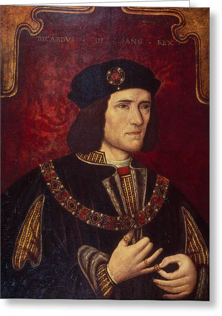 King Greeting Cards - Portrait of King Richard III Greeting Card by English School