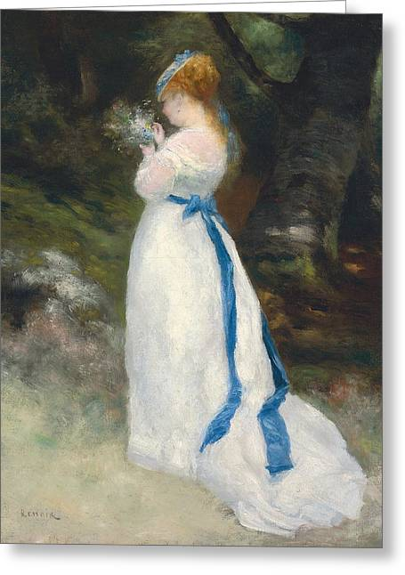 Full-length Portrait Paintings Greeting Cards - Portrait of Lise   Greeting Card by Pierre Auguste Renoir