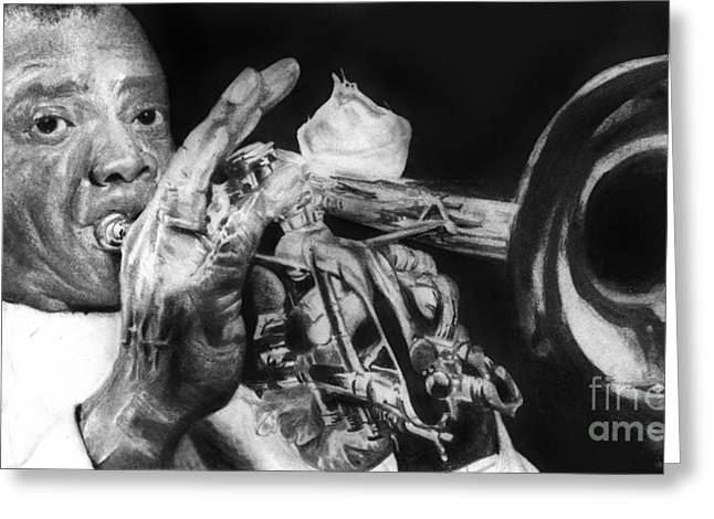 Hyper-realism Mixed Media Greeting Cards - Portrait of Louie Armstrong Greeting Card by Carrie Jackson