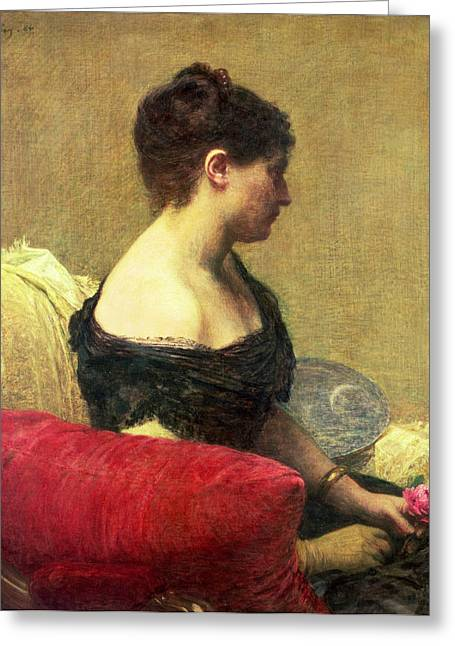 Cushion Paintings Greeting Cards - Portrait of Madame Maitre Greeting Card by Ignace Henri Jean Fantin Latour