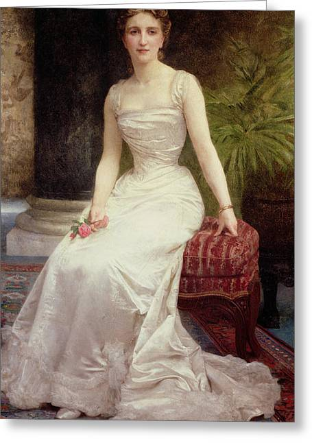 Full-length Portrait Paintings Greeting Cards - Portrait of Madame Olry-Roederer Greeting Card by William-Adolphe Bouguereau