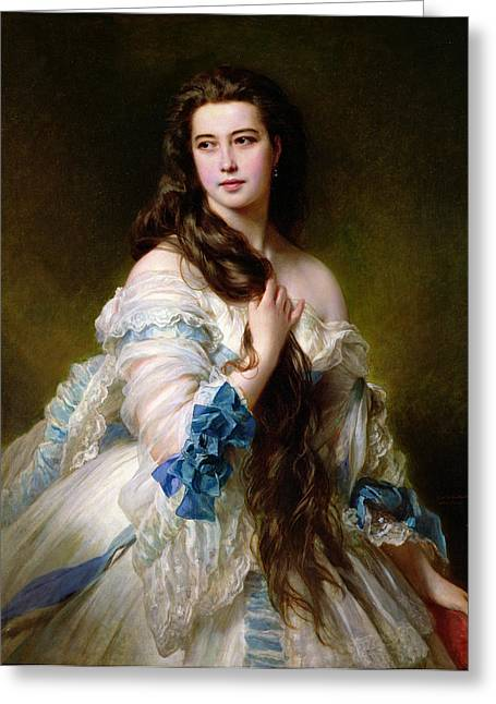White Dress Paintings Greeting Cards - Portrait of Madame Rimsky Korsakov Greeting Card by Franz Xaver Winterhalter