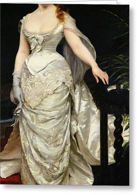 Full-length Portrait Paintings Greeting Cards - Portrait of Mademoiselle X Greeting Card by Charles Emile Auguste Carolus Duran