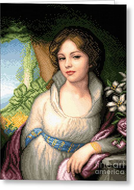 Cross Tapestries - Textiles Greeting Cards - Portrait of Maria Lopukhina Greeting Card by Stoyanka Ivanova