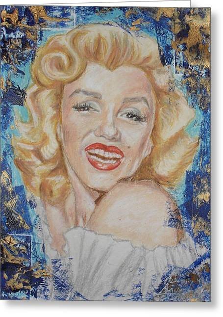 Celebrity Portraits Pastels Greeting Cards - Portrait of Marilyn Monroe Greeting Card by Agnes V