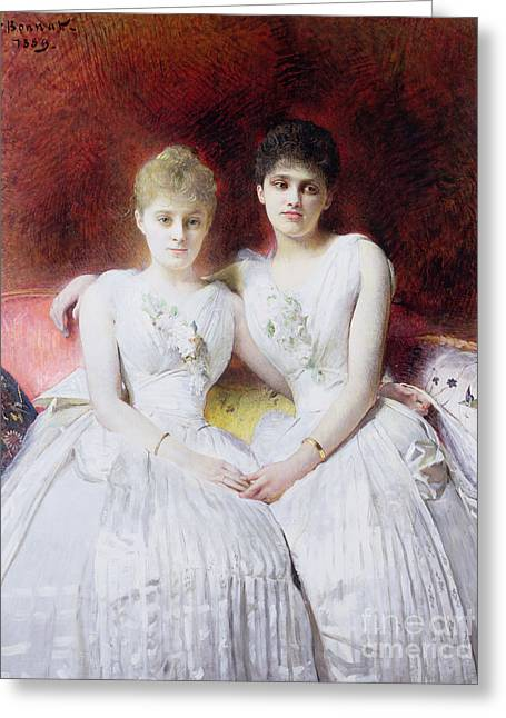 Ball Gown Greeting Cards - Portrait of Marthe and Terese Galoppe Greeting Card by Leon Joseph Bonnat
