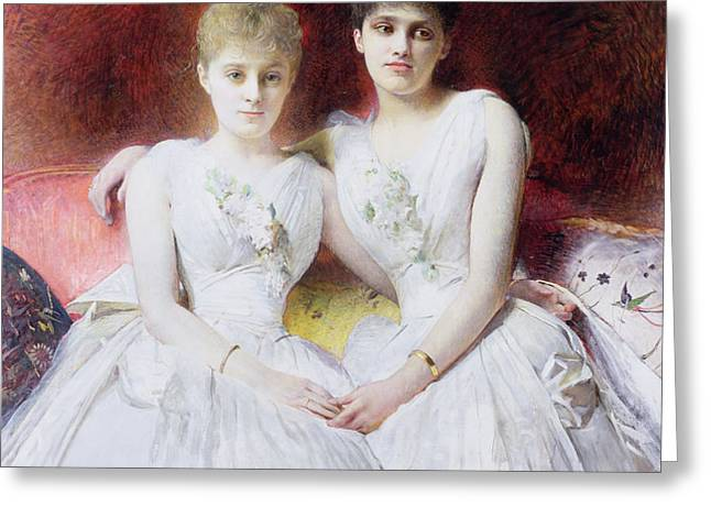 Portrait of Marthe and Terese Galoppe Greeting Card by Leon Joseph Bonnat