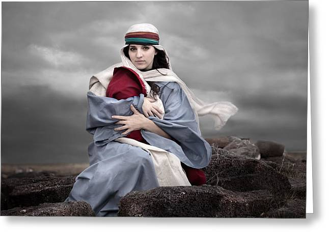 Photo-realism Greeting Cards - Portrait of Mary Greeting Card by Cindy Singleton