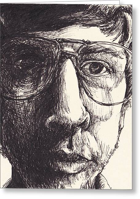 Distortion Drawings Greeting Cards - Portrait of Michael G Greeting Card by Canis Canon