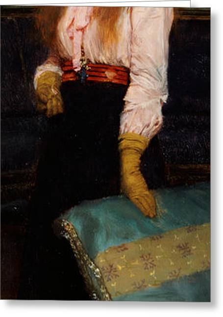 Upholstery Greeting Cards - Portrait of Miss MacWirter Greeting Card by Sir Lawrence Alma-Tadema