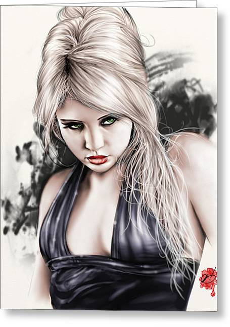 Pete Tapang Greeting Cards - Portrait of Miss Mosh Greeting Card by Pete Tapang