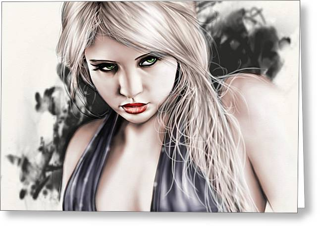 Portrait of Miss Mosh Greeting Card by Pete Tapang