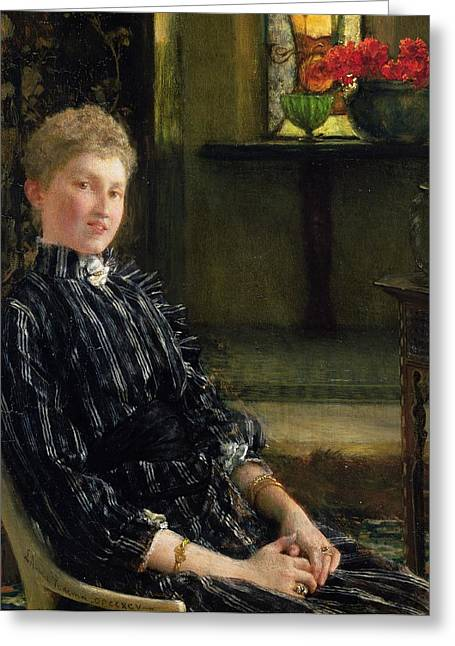 Stained Glass Windows Greeting Cards - Portrait of Mrs Ralph Sneyd Greeting Card by Sir Lawrence Alma-Tadema