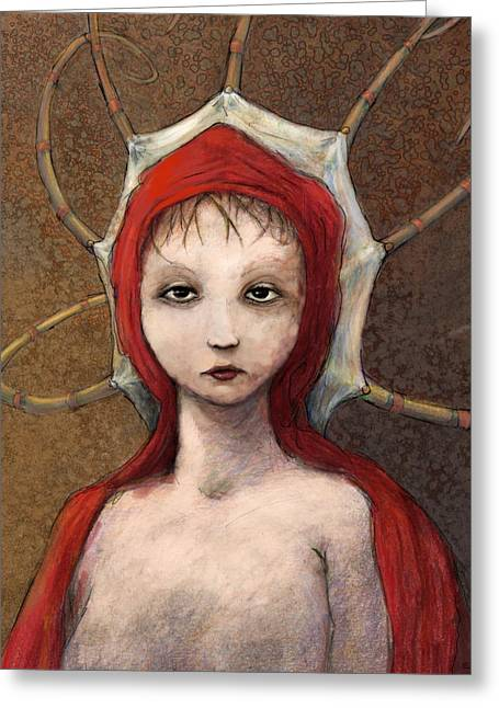 Girls Mixed Media Greeting Cards - Portrait of Octavia Greeting Card by Ethan Harris
