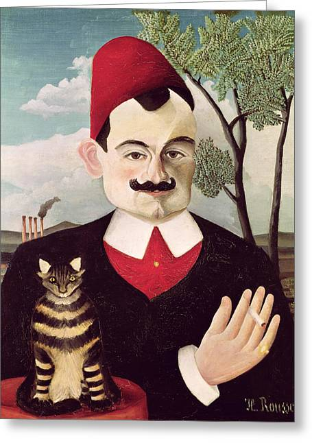 Philosopher Greeting Cards - Portrait of Pierre Loti Greeting Card by Henri Rousseau