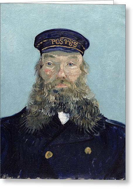 Postman Greeting Cards - Portrait of Postman Roulin Greeting Card by Vincent van Gogh