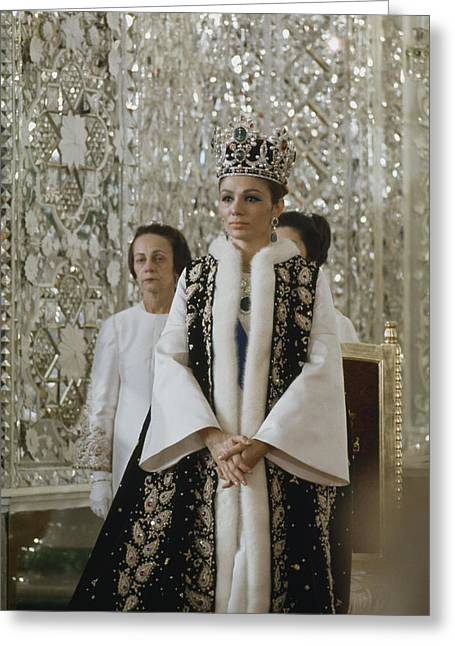 Tehran Greeting Cards - Portrait Of Queen Farah Pahlavi Dressed Greeting Card by James L. Stanfield