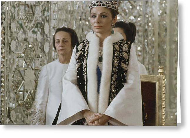 Portrait Of Queen Farah Pahlavi Dressed Greeting Card by James L. Stanfield