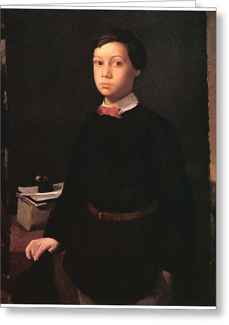 Portrait Of A Young Boy Greeting Cards - Portrait of Rene De Gas Greeting Card by Edgar Degas