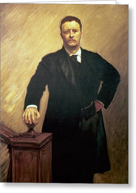 Male Singer Greeting Cards - Portrait of Theodore Roosevelt Greeting Card by John Singer Sargent