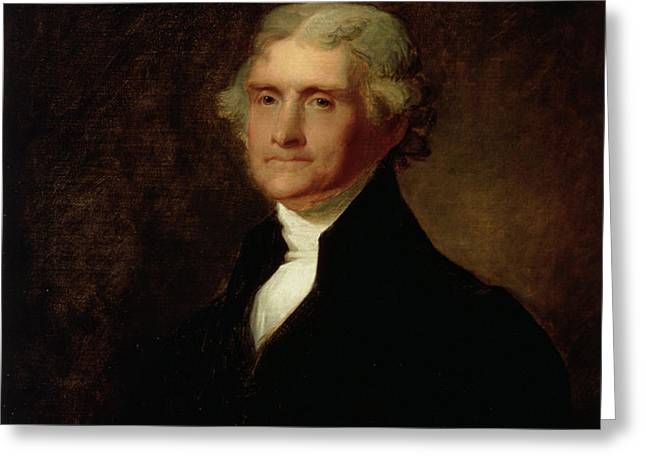 Portrait of Thomas Jefferson Greeting Card by Asher Brown Durand