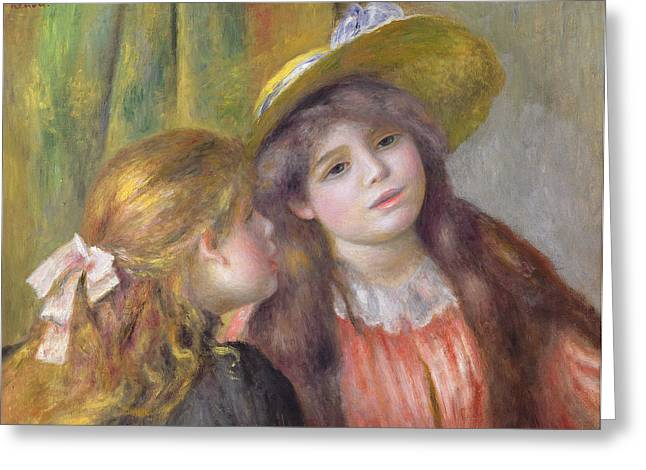 Red Dress Greeting Cards - Portrait of Two Girls Greeting Card by Pierre Auguste Renoir