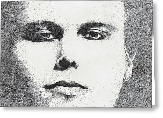 Portrait of Ville Valo Greeting Card by Alice Rotaru