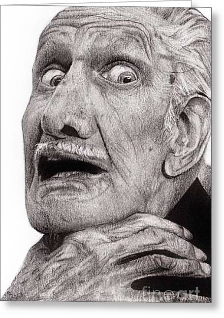 Hyper-realism Mixed Media Greeting Cards - Portrait of Vincent Price Greeting Card by Carrie Jackson