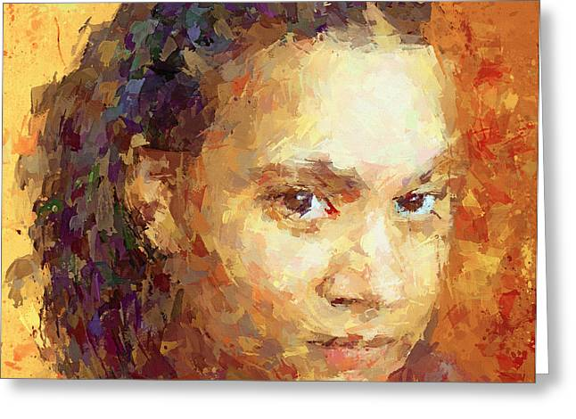 Attractiveness Greeting Cards - Portrait of Young Lady Greeting Card by Yury Malkov