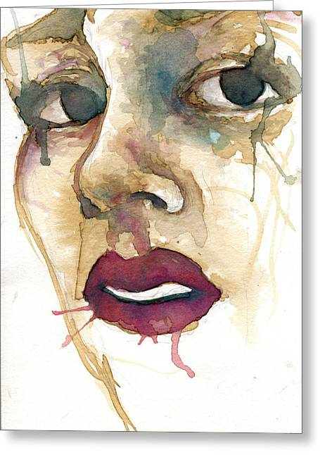 Watercolor Portrait Greeting Cards - Portrait One Gia Greeting Card by Mark M  Mellon