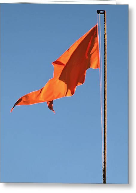 Geometry In Orange Greeting Cards - Portrait Saffron Greeting Card by Kantilal Patel