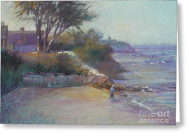 Fishermen Pastels Greeting Cards - Portsea evening Greeting Card by Pamela Pretty