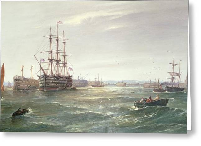 Docked Sailboats Greeting Cards - Portsmouth Harbour with HMS Victory Greeting Card by Robert Ernest Roe