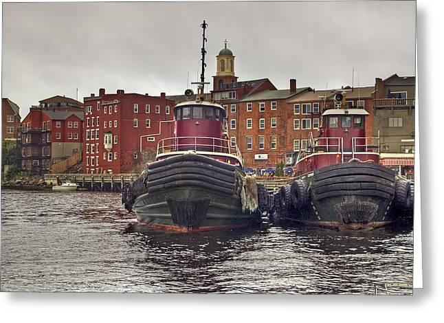 Portsmouth Tugs Greeting Card by Joann Vitali