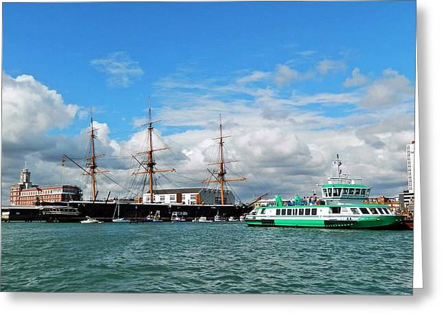 Old Ship Art Greeting Cards - Portsmouths historic dockyard Greeting Card by Sharon Lisa Clarke