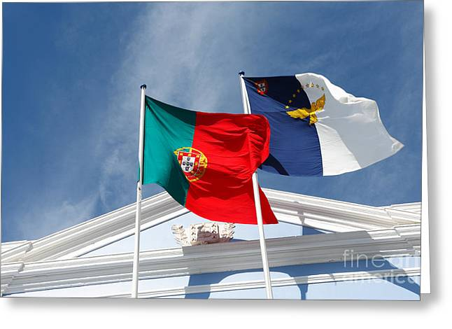 Regionalism Greeting Cards - Portugal and Azores flags Greeting Card by Gaspar Avila