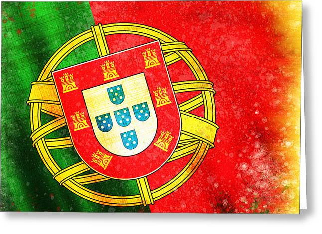 Grunge Pastels Greeting Cards - Portugal Flag  Greeting Card by Setsiri Silapasuwanchai