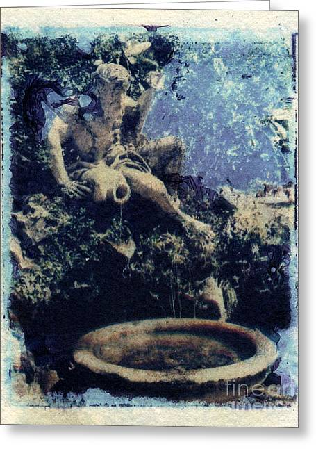Transfer Paintings Greeting Cards - Portugese Fountain Greeting Card by Cindy Roesinger