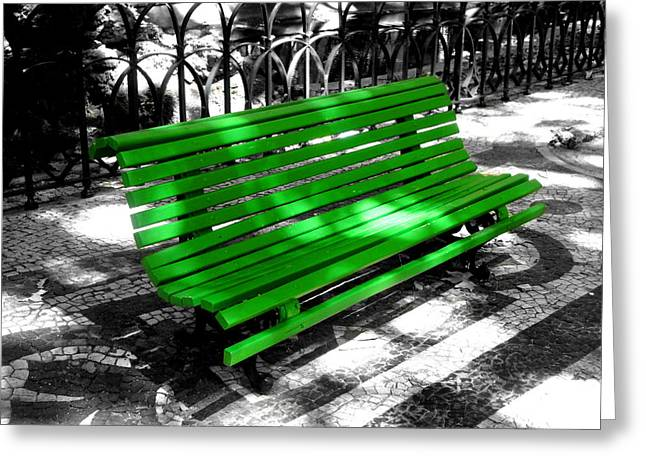 Roberto Alamino Greeting Cards - Portuguese Bench Greeting Card by Roberto Alamino