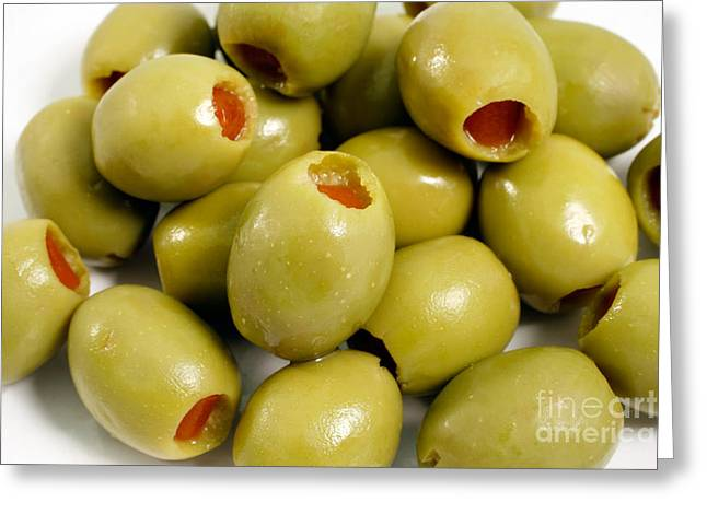 Olive Green Greeting Cards - Portuguese green olives Greeting Card by Gaspar Avila