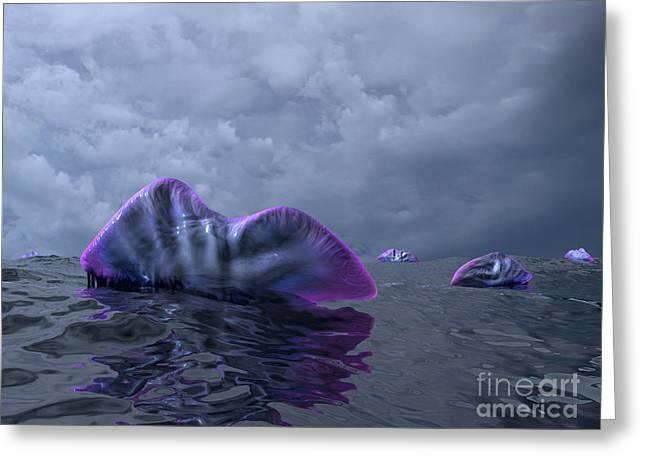 Sea Life Digital Art Greeting Cards - Portuguese Man O War Swarm Greeting Card by Walter Myers