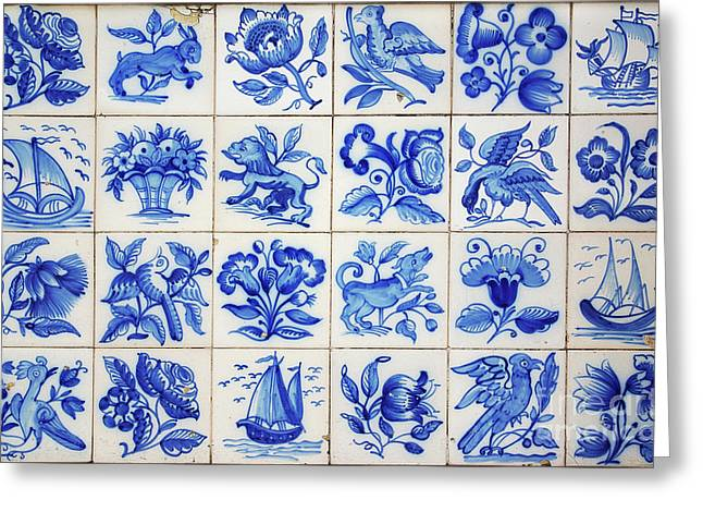 Ceramic Greeting Cards - Portuguese Tiles Greeting Card by Carlos Caetano