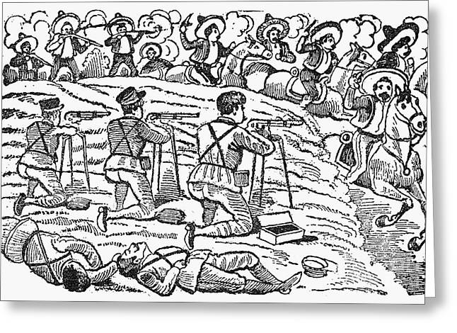 Mexican Revolution Greeting Cards - Posada: Battle, 1910-12 Greeting Card by Granger