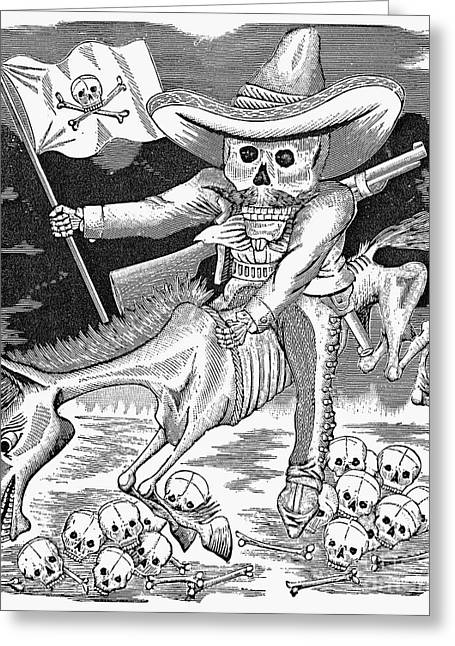 Mexican Revolution Greeting Cards - Posada: Calavera Zapatista Greeting Card by Granger