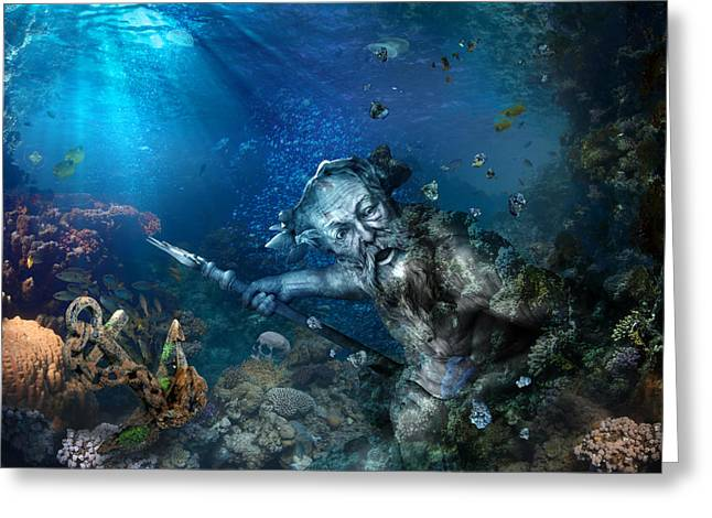 Poseidon Greeting Card by Marc Huebner