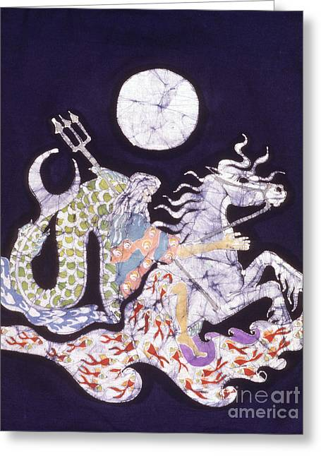 Trident Tapestries - Textiles Greeting Cards - Poseidon Rides the Sea on a Moonlight Night Greeting Card by Carol  Law Conklin