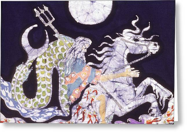 Poseidon Rides the Sea on a Moonlight Night Greeting Card by Carol  Law Conklin