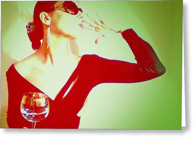 Wine Woman Greeting Cards - Posh Greeting Card by Naxart Studio