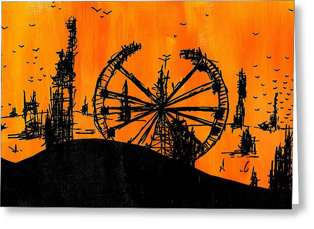 Desert Drawings Greeting Cards - Post Apocalyptic Carnival Skyline Greeting Card by Jera Sky