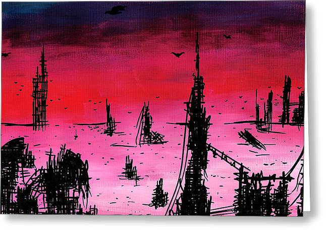 Desert Drawings Greeting Cards - Post Apocalyptic Desolate Skyline Greeting Card by Jera Sky
